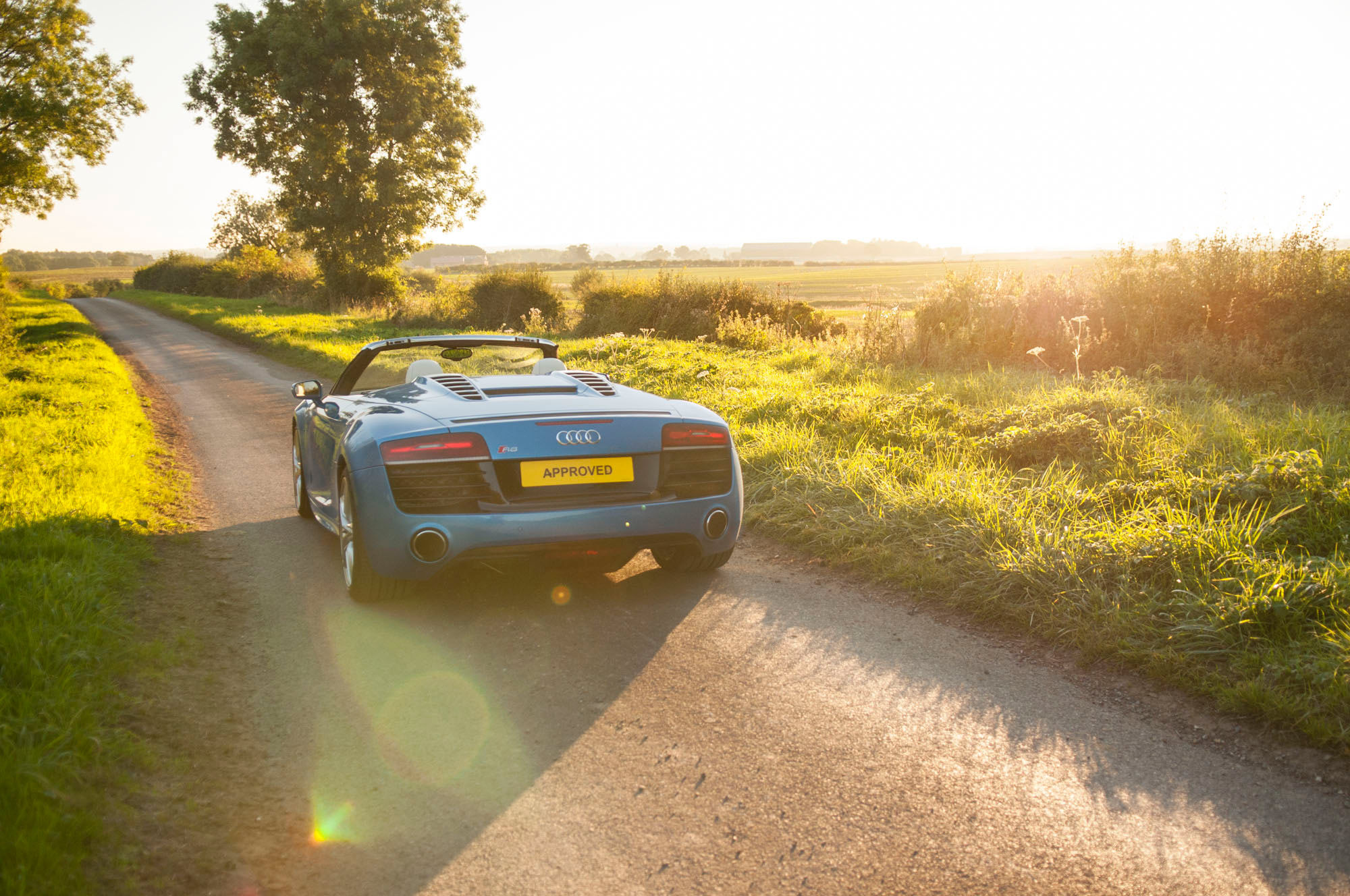 Audi R8 V10 Spider Exclusive Pelican Blue sunset commercial automotive photographer yorkshire